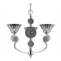 Triarch Industries Medallion 3 Light Mini Chandelier in Chrome Plated With Black Nickel Accents with Clear Crystal Glass 39418