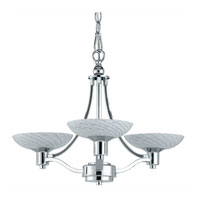 Triarch Industries Halogen VII 3 Light Chandelier in Polished Chrome with Hand Blown White Art Glass 39473