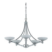 Triarch Industries Halogen VII 5 Light Chandelier in Polished Chrome with Hand Blown White Art Glass 39475