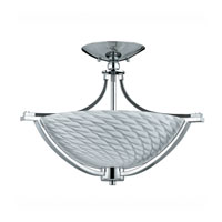 Triarch Industries Halogen VII 3 Light Semi-Flush Mount in Polished Chrome with Hand Blown White Art Glass 39476