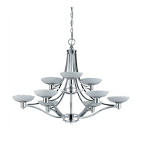 Triarch Industries Halogen VII 9 Light Chandelier in Polished Chrome with Hand Blown White Art Glass 39479
