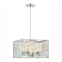 Triarch Industries Contempo 4 Light Pendant in Chrome with Frosted White Glass 39502