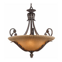 Triarch Industries Vienna 6 Light Pendant in Weathered Bronze with Hand Painted Scavo Glass 39612-30