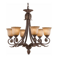 Triarch Industries Vienna 6 Light Chandelier in Weathered Bronze with Hand Painted Scavo Glass 39613