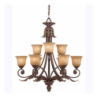 Triarch Industries Vienna 9 Light Chandelier in Weathered Bronze with Hand Painted Scavo Glass 39614