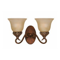 Triarch Industries Crown Jewel 2 Light Wall Sconce in Antiqued Gold Leaf with Cognac Tinted Scavo Glass 39640/2