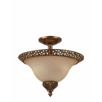 Triarch Industries Crown Jewel 2 Light Semi-Flush Mount in Antiqued Gold Leaf with Cognac Tinted Scavo Glass 39641-14