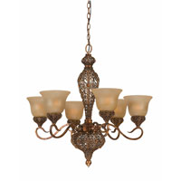 Triarch Crown Jewel 6 Light Chandelier in Antiqued Gold Leaf 39643