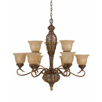 Triarch Crown Jewel 9 Light Chandelier in Antiqued Gold Leaf 39644