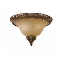 Triarch Industries Crown Jewel 2 Light Flush Mount in Antiqued Gold Leaf with Cognac Tinted Scavo Glass 39646