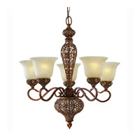 Triarch Industries Crown Jewel 5 Light Chandelier in Antiqued Gold Leaf with Cognac Tinted Scavo Glass 39647-5