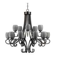 Triarch Industries Jaclyn 15 Light Entry Chandelier in Brushed Steel with White Art Glass 39675