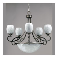 Triarch Industries Jaclyn 8 Light Chandelier in Brushed Steel with White Art Glass 39678