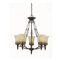 Triarch Industries York 5 Light Chandelier in English Bronze with Cognac Tinted Frosted Glass 40133