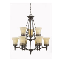 Triarch Industries York 9 Light Chandelier in English Bronze with Cognac Tinted Frosted Glass 40134