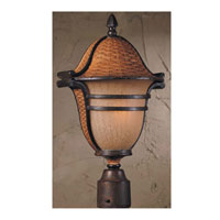 Triarch Industries Bombay 3 Light Outdoor Post Head in Aged Wicker With An English Bronze with Hand Blown Cognac Antiqued Glass 75126-11
