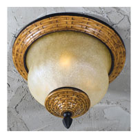 Triarch Industries Bombay 3 Light Outdoor Ceiling in Aged Wicker With An English Bronze with Hand Blown Cognac Antiqued Glass 75129-11