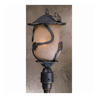 Triarch Industries Froggy 4 Light Outdoor Post Head in Weathered Bronze with Congac Antiqued Glass 75136-12