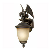 Triarch Industries Gargoyle 1 Light Outdoor Wall in Oil Rubbed Bronze with Hand Blown Cognac Antiqued Glass 75250-14