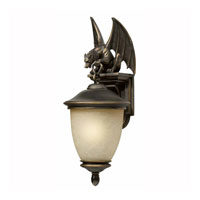 Triarch Industries Gargoyle 1 Light Outdoor Wall in Oil Rubbed Bronze with Hand Blown Cognac Antiqued Glass 75251-14