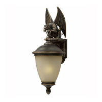 Triarch Industries Gargoyle 1 Light Outdoor Wall in Oil Rubbed Bronze with Hand Blown Cognac Antiqued Glass 75252-14