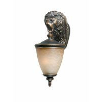 Triarch Industries Lion 2 Light Outdoor Wall in Oil Rubbed Bronze with Hand Blown Cognac Antiqued Glass 75321-14