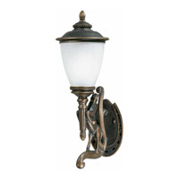 Triarch Industries Stallion 1 Light Outdoor Wall Left in Oil Rubbed Bronze with Hand Blown White Ribbed Glass 75330-14-L