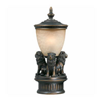 Triarch Industries Lion Pier Mount in Oil Rubbed Bronze with Hand Blown Cognac Antiqued Glass 75539-14