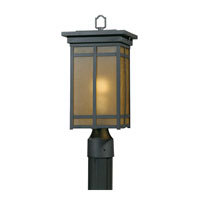 Triarch Industries Signature 1 Light Outdoor Post Head in Hand Painted Blacksmith Bronze with Frosted Amber Glass 78105-10