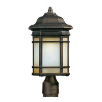 Triarch Industries Signature 1 Light Outdoor Post Head in Hand Painted Oil Rubbed Bronze with Frosted White And Amber Glass 78125-14