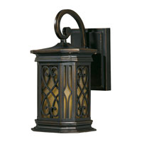 Triarch Industries Signature 1 Light Outdoor Wall in Hand Painted Oil Rubbed Bronze with Frosted Amber Glass 78130-14