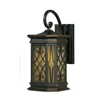 Triarch Industries Signature 1 Light Outdoor Wall in Hand Painted Oil Rubbed Bronze with Frosted Amber Glass 78131-14