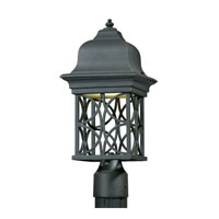 Triarch Industries Signature 1 Light Outdoor Post Head in Hand Painted Blacksmith Bronze with Open Scroll Work Lantern Glass 78145-10