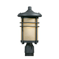Triarch Industries Signature 1 Light Outdoor Post Head in Hand Painted Blacksmith Bronze with Frosted Amber Glass 78155-10