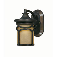Triarch Industries Signature 1 Light Outdoor Wall in Hand Painted Oil Rubbed Bronze with Frosted Amber Glass 78170-14