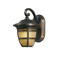 Triarch Industries Signature 1 Light Outdoor Wall in Hand Painted Oil Rubbed Bronze with Frosted Amber Glass 78190-14