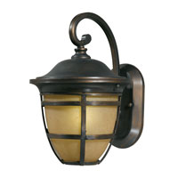 Triarch Industries Signature 1 Light Outdoor Wall in Hand Painted Oil Rubbed Bronze with Frosted Amber Glass 78191-14