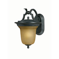 Triarch Industries Signature 1 Light Outdoor Wall in Hand Painted English Bronze with Frosted Amber Glass 78201-12
