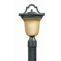 Triarch Industries Signature 1 Light Outdoor Post Head in Hand Painted English Bronze with Frosted Amber Glass 78205-12