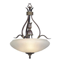 Triarch Industries Signature 3 Light Pendant in Unique Highland Bronze with Frosted Glass 88038