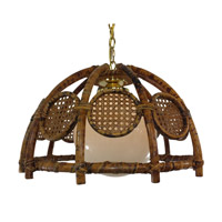 Triarch Signature 1 Light Pendant in Natural Distressed Rattan 9005