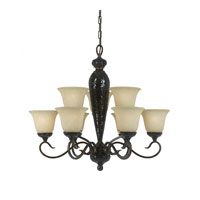 Triarch Industries Mosaic 9 Light Chandelier in English Bronze with Cognac Antiqued Hand Painted Glass 9014-EB