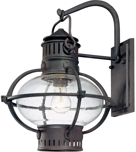 Troy Lighting Portsmouth 1 Light Outdoor Wall Lantern In Boston Bronze With Rust Accents B1873bb