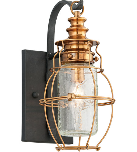 Troy Lighting B3571 Little Harbor 1 Light 13 inch Aged Brass With Forged Black Accents Outdoor Wall Lantern  photo