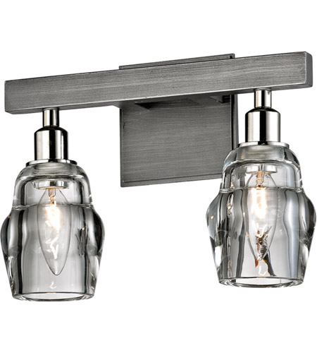 Troy Lighting B6002 Citizen 2 Light 12 inch Graphite and Polished Nickel Bath Vanity Wall Light, Clear Pressed Glass photo