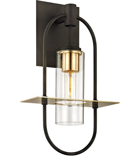 Troy Lighting B6392 Smyth 1 Light 18 inch Dark Bronze with Brushed Brass Outdoor Wall Sconce photo