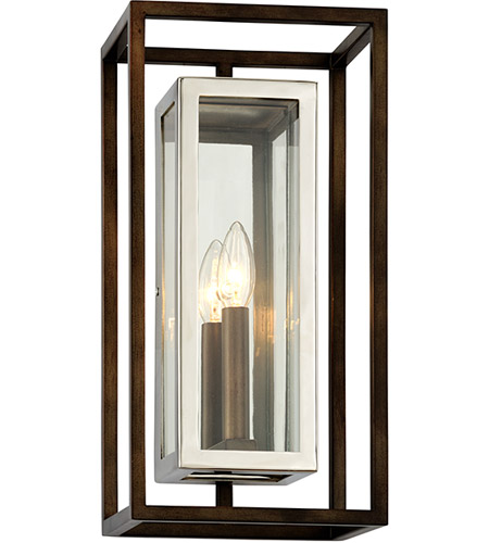 Troy Lighting B6512 Morgan 1 Light 8 Inch Bronze With Polished Stainless Wall Sconce