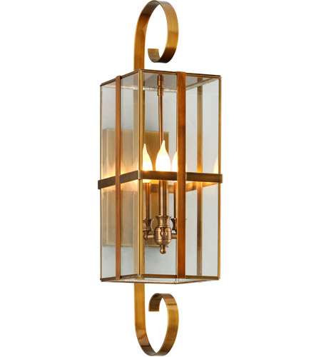 Troy Lighting B6562HB Rutherford 3 Light 8 Inch Heirloom Brass Wall Sconce  Wall Light