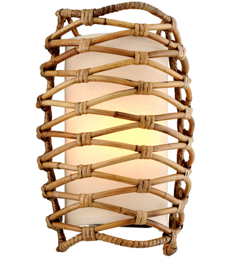 Troy Lighting B6741 Balboa 1 Light 10 inch Bronze and Natural Rattan Wall Sconce Wall Light photo