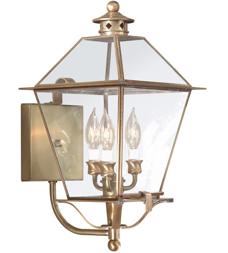 Troy Lighting Montgomery 3 Light Outdoor Wall Lantern in Natural Aged Brass B8954NAB photo